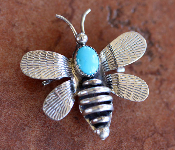 Navajo Silver Turquoise Bumble Bee Pin by T Yazzie