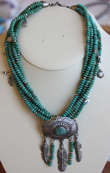 Navajo Turquoise Necklace By C Mitz