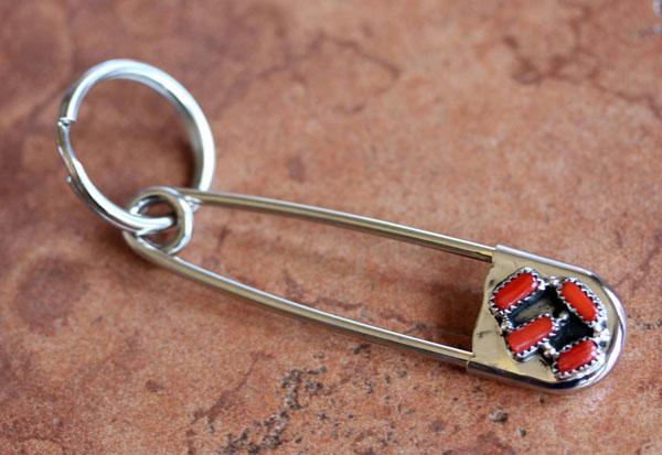 Navajo Silver Coral Key Chain