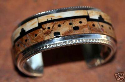 Zuni Royston Ribbon Turquoise Pueblo Design Bracelet