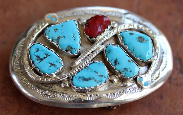 Zuni Silver Turquoise Coral Belt Buckle by Effie C