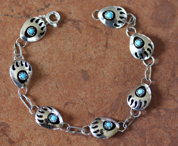 Navajo Turquoise Bear Claw Link Bracelet by Mike Thomas