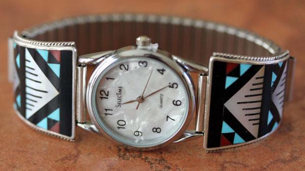 Zuni Native American Multi_Stone Men's Watch