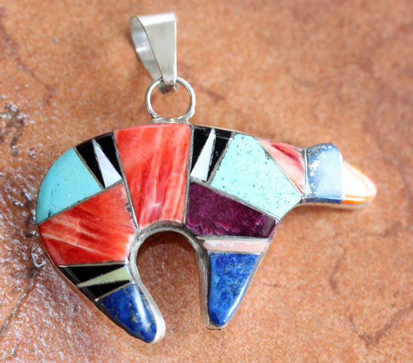 Zuni Silver Multi_Stone Bear Pendant by D Livingston