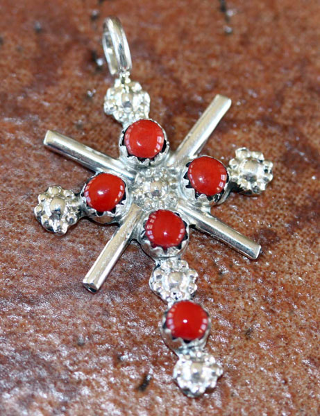 Navajo Sterling Coral Cross Pendant