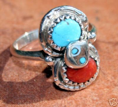 Signed Zuni Turquoise Coral Ring by Effie C