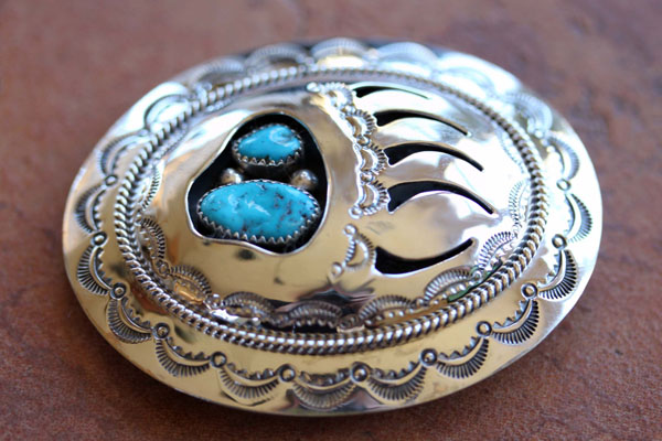 Navajo Silver Turquoise  Bear Paw Belt Buckle