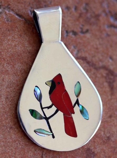 Zuni Native American Inlay Bird Pendant by SC Edaakie