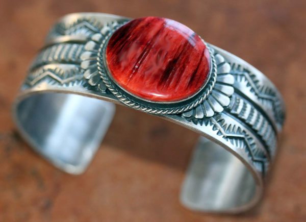 Navajo Sterling Silver Coral Bracelet by Sunshine Reeves