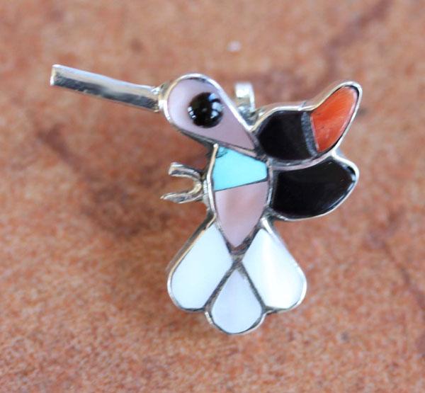 Zuni Sterling Silver Hummingbird Pendant