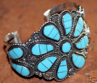 Zuni Indian Indian Turquoise Cluster Bracelet