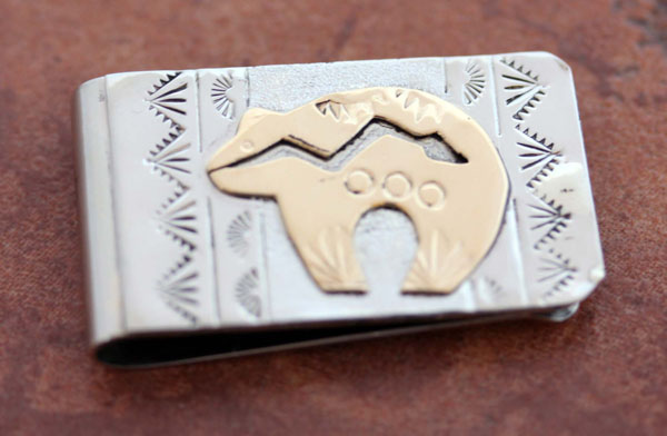 Nvajo Silver Gold Bear Money Clip by RJ