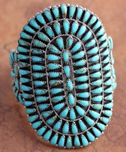 Navajo Silver Turquoise Cluster Bracelet by LM Begay
