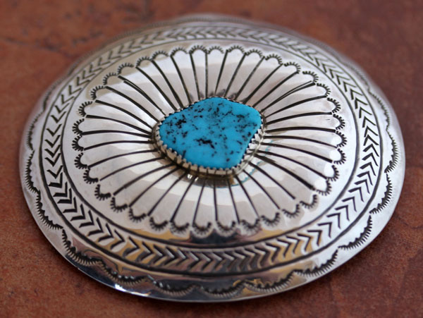 Navajo Silver Turquoise Belt Buckle by Carson B