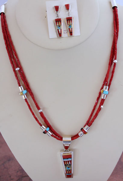 Zuni Sterling Silver Necklace/Earrings by RP Edaakie