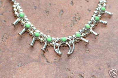 Navajo Indian Squash Blossom Gaspeite Choker Necklace