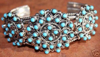 Zuni Sterling Turquoise Cluster Bracelet