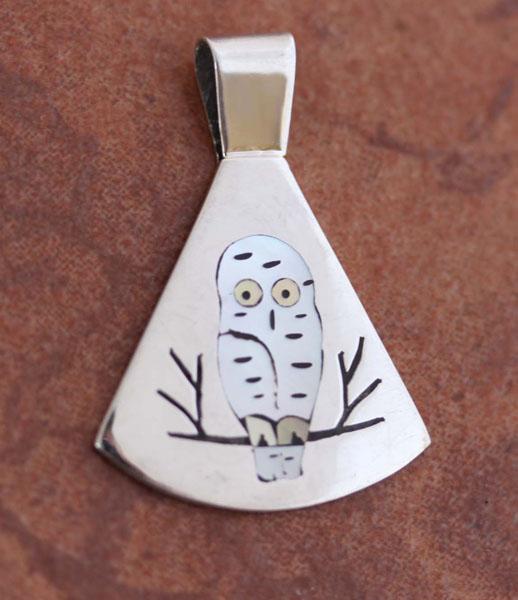 Zuni Native American Owl Pendant by SC Edaakie
