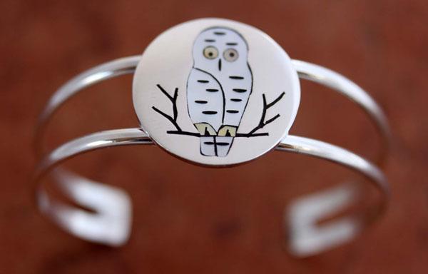 Zuni Sterling Owl Bracelet by Edaakie