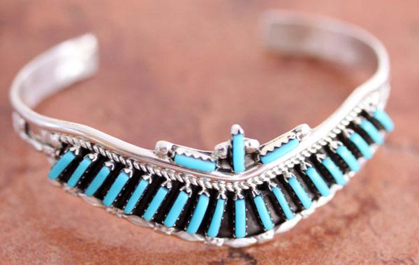 Zuni Silver Turquoise Bracelet by Yazzie