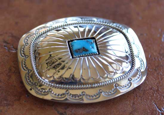 Navajo Silver Turquoise Belt Buckle