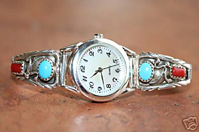 Navajo Turquoise Coral Women's Watch