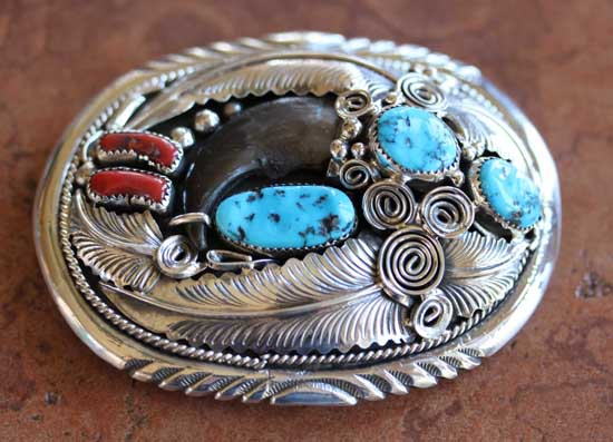 Navajo Turquoise Coral Belt Buckle by M Thomas Jr