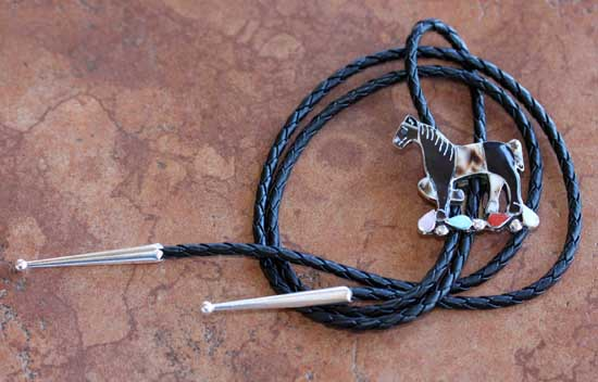 Zuni Multi_Stone Horse Bolo Tie