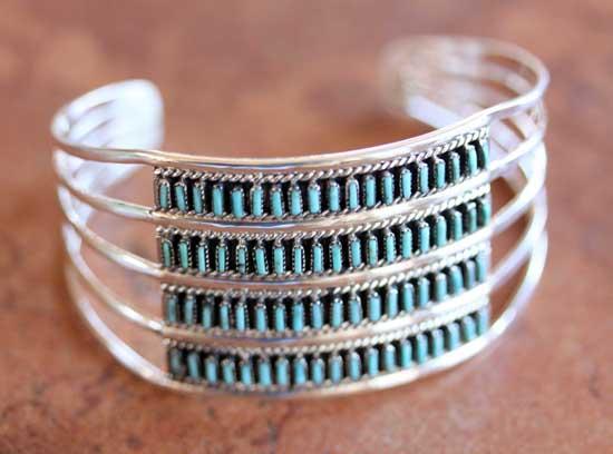 Zuni Sterling Silver Turquoise Bracelet