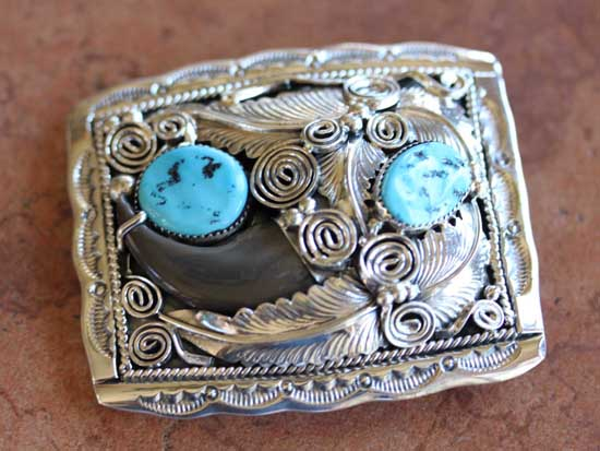 Navajo Sterling Turquoise Belt Buckle by M Thomas Jr