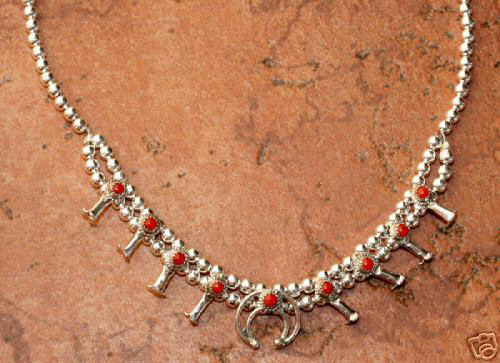 Navajo Indian Coral Squash Blossom Choker Necklace