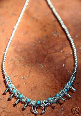 Navajo Indian Squash Blossom Turquoise Choker Necklace