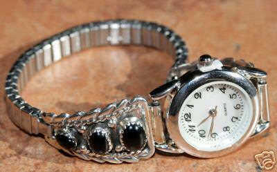 Navajo Silver Onyx Women's Watch