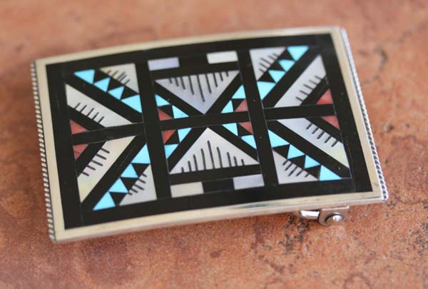 Zuni Silver Multi_Stone Inlay Belt Buckle