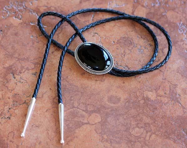 Navajo Silver Onyx Bolo Tie
