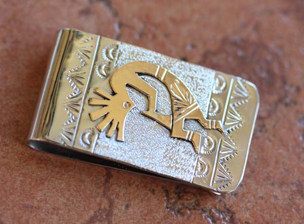 Native American Silver Gold Kokopelli Money Clip by RJ