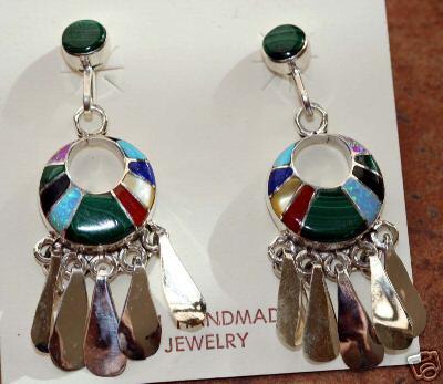 Zuni Native American Indian Multi_Stone Earrings