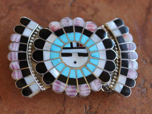Zuni Silver Multi_Stone Inlay Sunface Belt Buckle