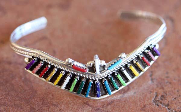Zuni Silver Multi_Stone Bracelet by H Yazzie