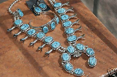 Navajo Turquoise Squash Blossom Necklace 4 Piece Set