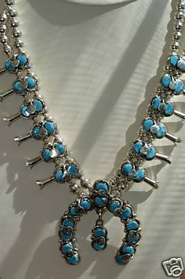Zuni Indian Squash Blossom Necklace/Earring Set Effie C