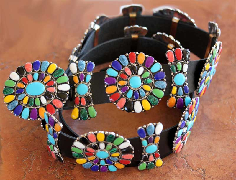 Navajo Leather Multi_Stone Concho Belt by J. Williams