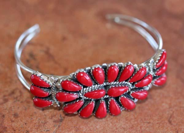 Navajo  Silver Coral Cluster Bracelet