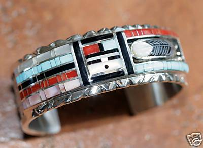 Zuni Native American Sunface Bracelet by Don Dewa