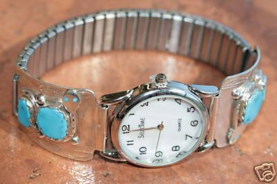 Zuni Indian Silver Turquoise Men's Watch by Effie C