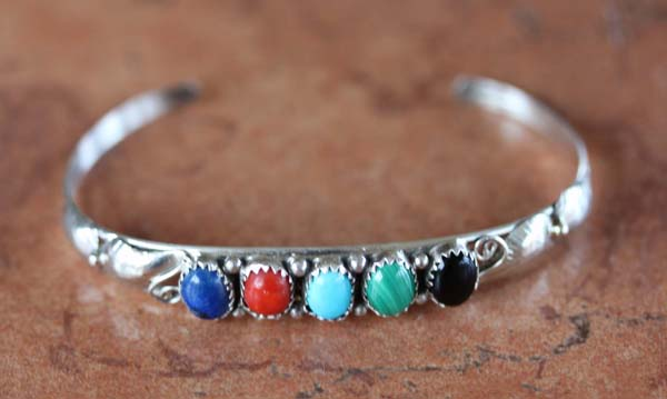 Navajo Silver Multi_Stone Bracelet