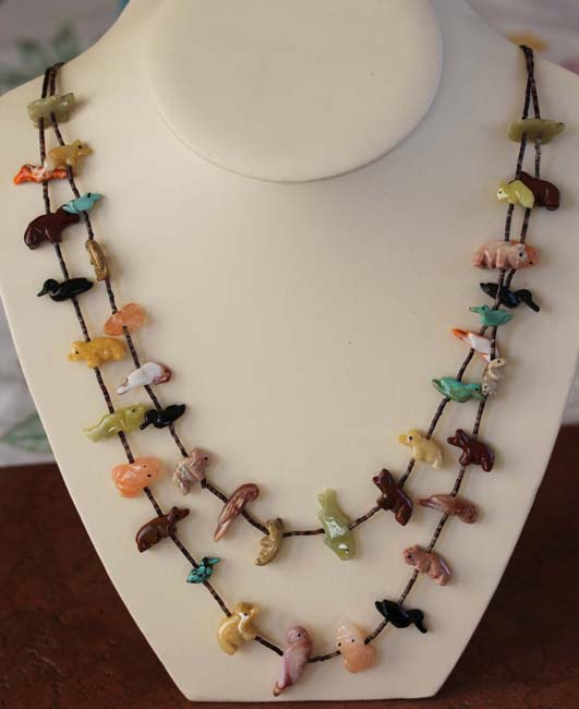 Navajo Fetish Beaded 2 Strand Necklace