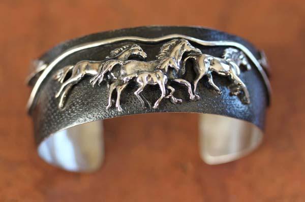Navajo Native American Sterling Silver Horse Bracelet