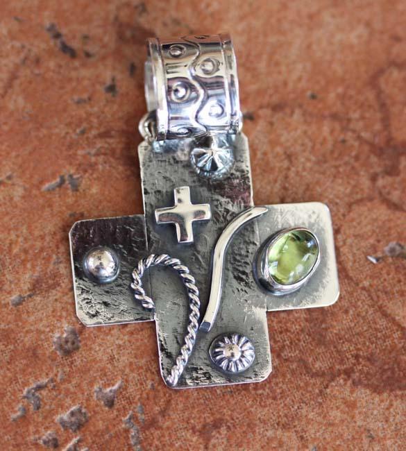 Nakai Navajo Silver Citrine Cross Pendant