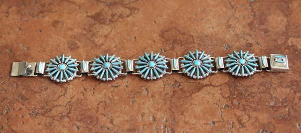 Zuni Turquoise Cluster Link Bracelet